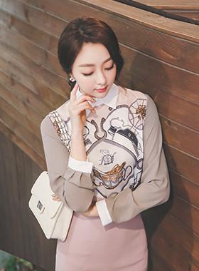 奢华裙Antique印花女衬衫