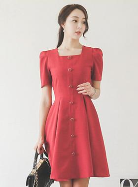 方形脖子纽扣线波浪组合/喇叭裙连衣裙