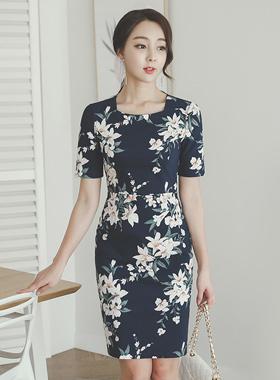 Flora棉弹力方领连衣裙