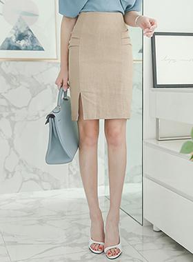 Side Shirring Slit亚麻裙子