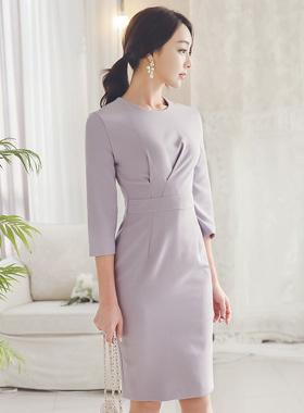 紫红夹剪切连衣裙