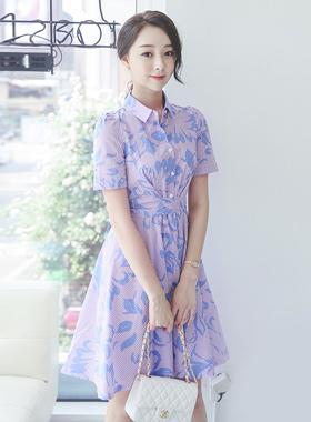 叶子条纹衬衫flare dress