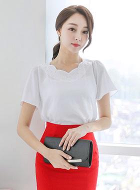 闪烁立方波浪脖子女人衬衫(短袖)