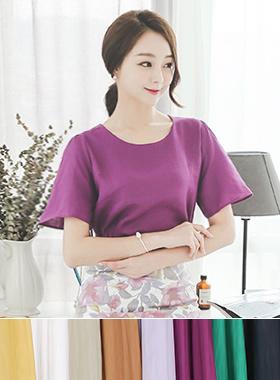 颜色麻麻圆领女衬衫