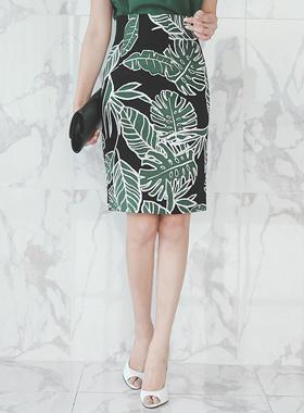 棕榈叶亚麻高裙子