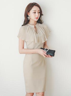 奢华裙立方颈部100折肩肩连衣裙