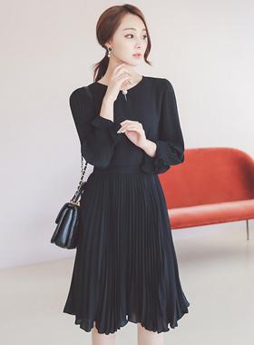 奢华裙珍珠纽扣百折连衣裙