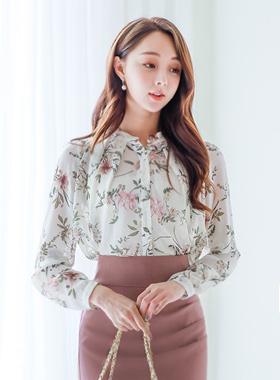 百合花丝女衬衬衫