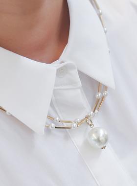 金色图案球珍珠项链