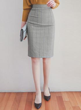 复古/古典铅笔格子裙子