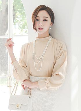 Romance挎包Shirring高龄女衬衫