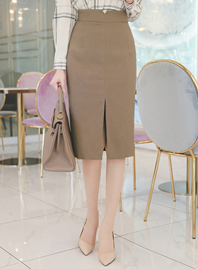 切口线开缝H线中长半身裙