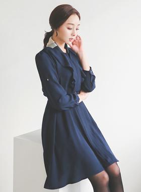 女士折叠金方波组/喇叭裙连衣裙