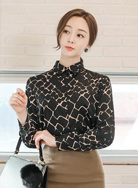 现代配色方案蛇女衬衫