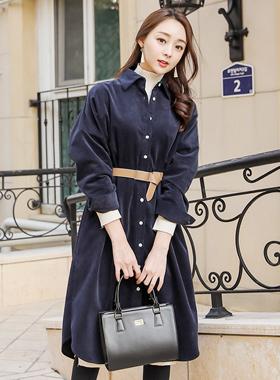 自然灯芯绒长衬衫连衣裙