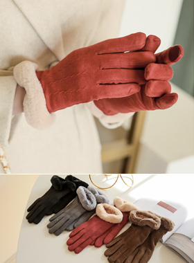 智能触感半透明毛皮衬里手套