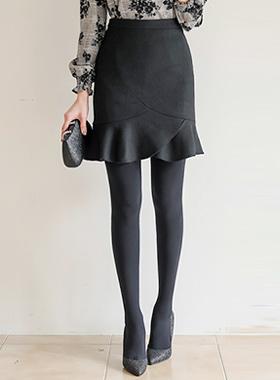 郁金香荷叶边线条绒绒羊毛裙子