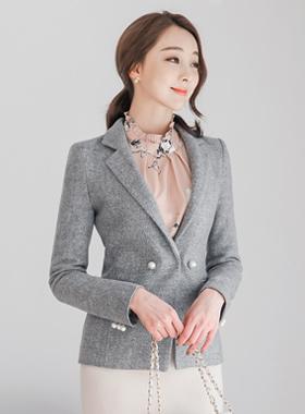 女式仿珍珠泰勒羊毛外套
