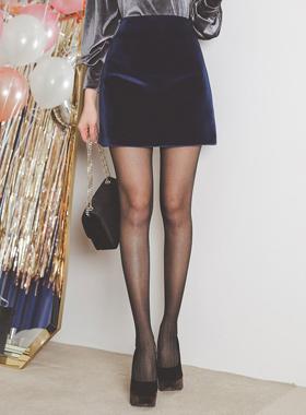 丝绒Basic A线条迷你裙