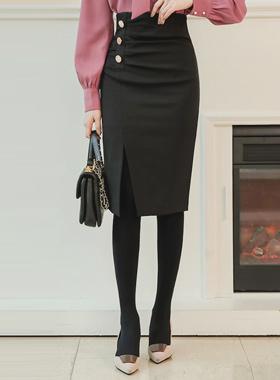 Sankei金色纽扣褶皱中长半身裙