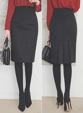 后褶半身裙Midi半身裙