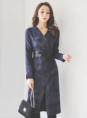 半透明的皮草触感裹裙连衣裙