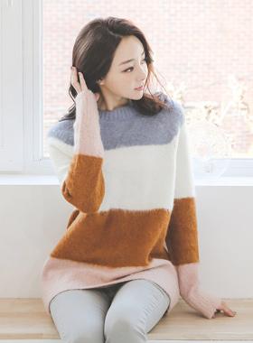 配色圆领羊驼毛毛羊长款针织衫