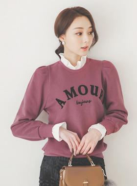 毛织印染 AMOUR 英文字母 褶皱 运动衫