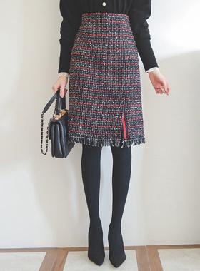 메탈 프린지 粗呢 슬릿 裙子