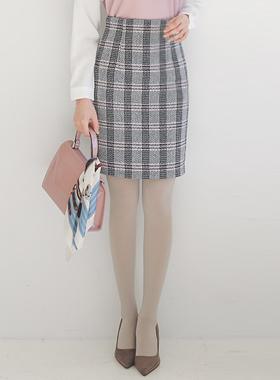 波纹图案 H字型半高腰格子裙子