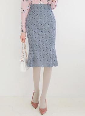 蒲公英蕾丝喇叭线条裙子
