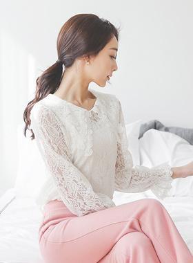浪漫水手蕾丝女衬衫