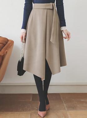 矩形束带不规则喇叭裙子