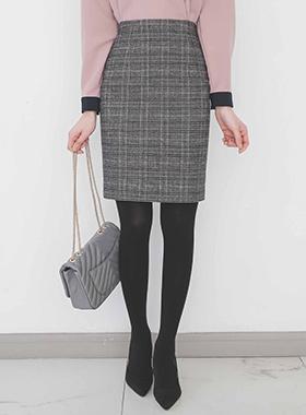 基本的 苏格兰格子 拉绒 裙子