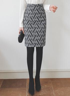波纹图案手托图案H字型中长款裙
