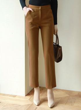 黄金环扣后侧松紧带拉绒弹力宽松长裤