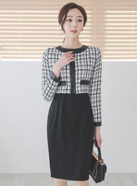 人造革线圆领粗呢连衣裙