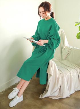 泡泡袖束带舒服长款连衣裙