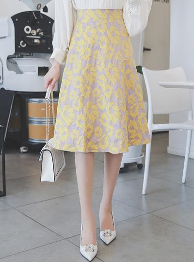 春季 花 后侧松紧带 喇叭 裙子