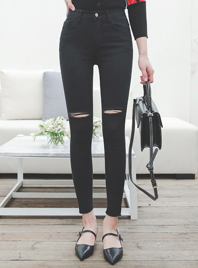 裁剪炫酷黑色牛仔紧身裤