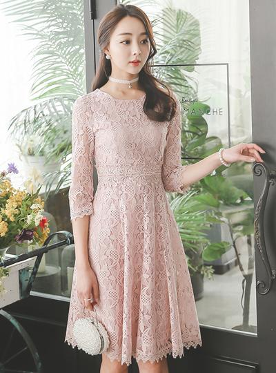 [婚礼]新娘蕾丝波浪群/喇叭裙连衣裙