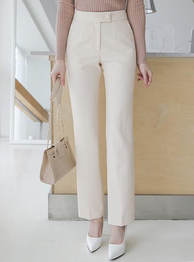 正装 半高腰 一字型 修身 宽松长裤
