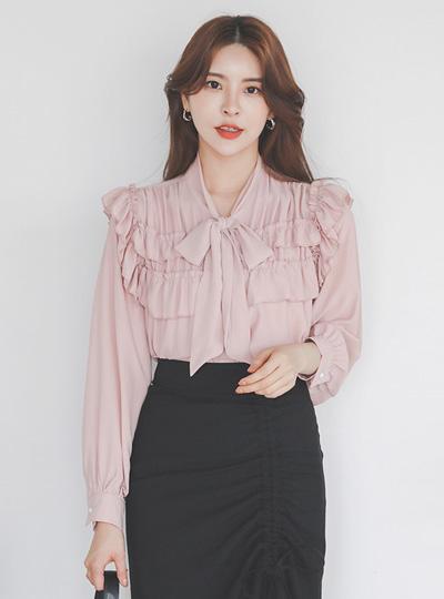 浪漫 皱裥打褶 蝴蝶结领结 罩衫