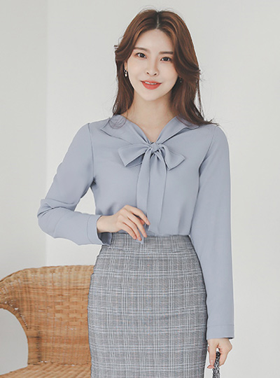 可爱 蝴蝶结领结 翼领 罩衫