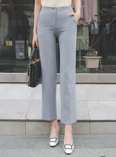 一字型 侧边开衩 弹力 宽松长裤 裤子