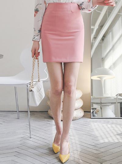 线缝口袋弹力修身迷你裙子