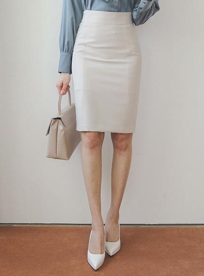 简单 腰头 缝线 H字型 裙子