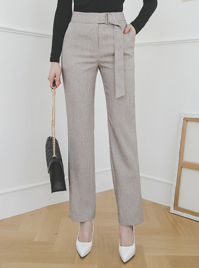 Silver O形环腰带装饰 渲染 直筒 宽松长裤