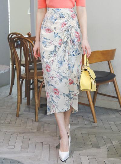 鲜花纹 抽绳 褶皱 蝴蝶结 长款 裙子