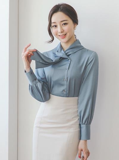 缎子 披巾领 围巾领 罩衫